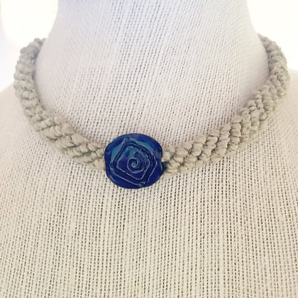 blue carved bead macrame necklace