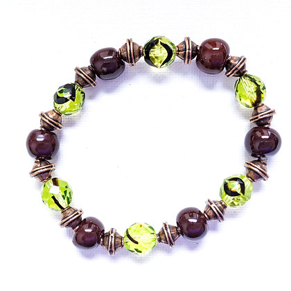 brown and green stackable bracelet