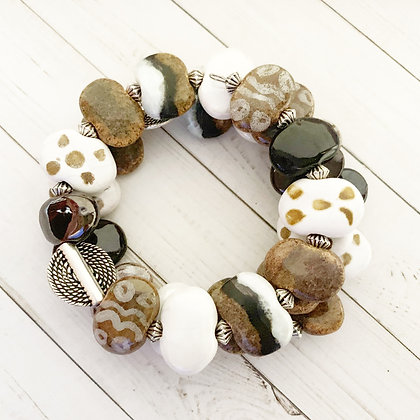 white and brown wrap bracelet
