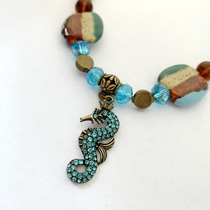 blue, brown & green seahorse necklace or earrings
