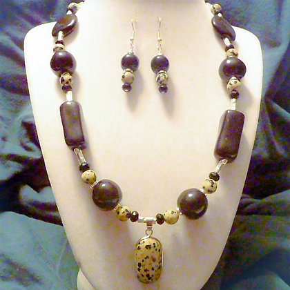 black dalmation necklace or earrings