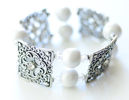 white double strand bracelet