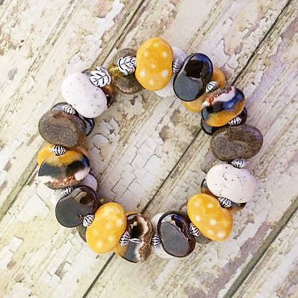 wrap bracelet - brown, cream and yellow with leaves