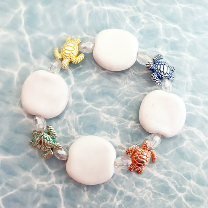 white with multicolor turtles bracelet