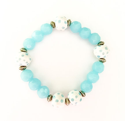white with light blue stackable bracelet