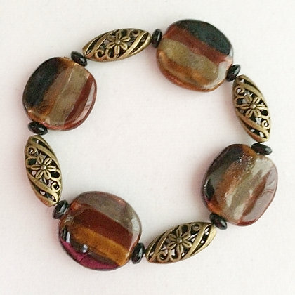 shades of brown stripes budget bracelet
