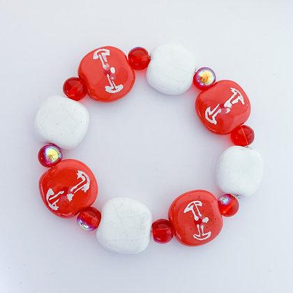 orange, white and red budget bracelet