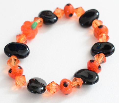 black and orange pumpkin bracelet