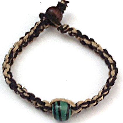emerald green with stripes macrame bracelet