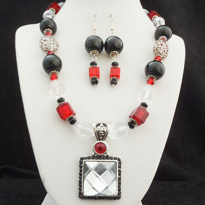 black and red bling necklace or earrings