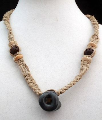 gray dolly-bead macrame necklace