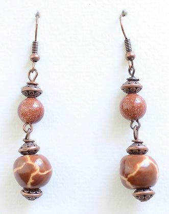 brown giraffe pattern earrings
