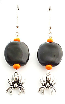 orange and black spider earrings
