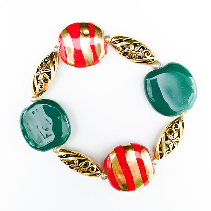 green and red with gold striped bracelet