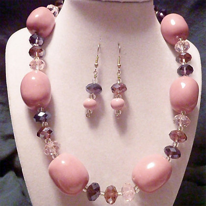 pink and purple chunky necklace or earrings
