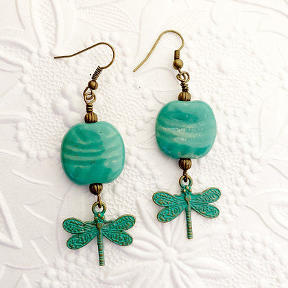 peacock green earrings with dragonfly