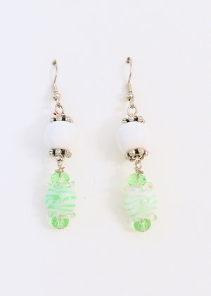 white with candy charm earrings