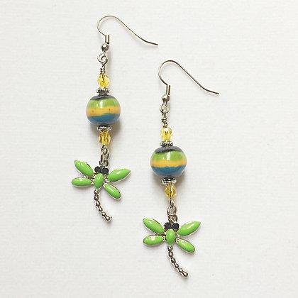striped green dragonfly earrings