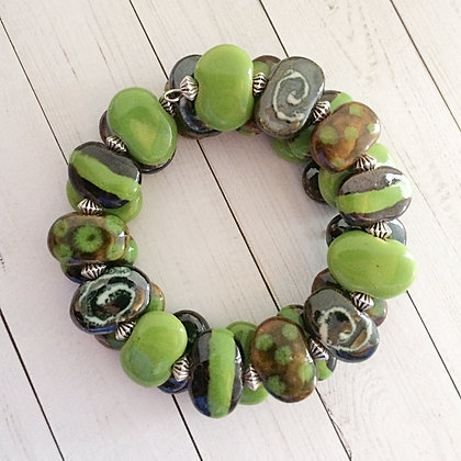 green, brown and pewter wrap bracelet