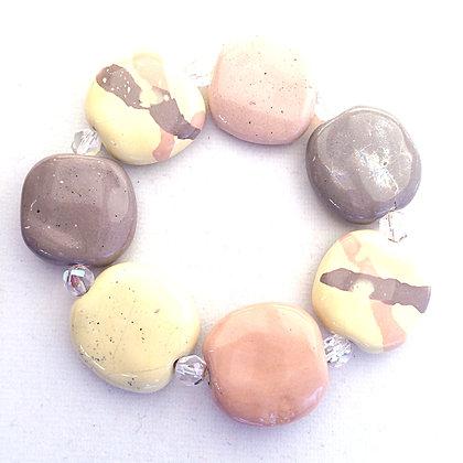 gray, tan and pale yellow splash budget bracelet