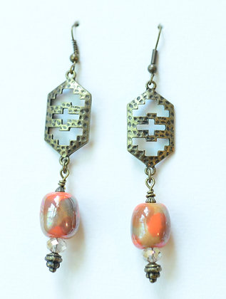 orange, brown & tan cross earrings