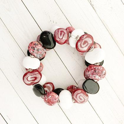 pink, white, black wrap bracelet