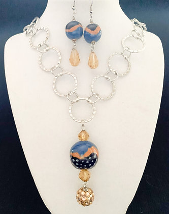 blue and brown wavy stripe necklace or earrings
