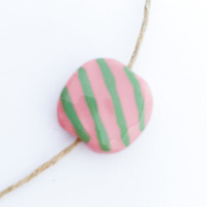 pink with green diagonal stripes mini pita pat