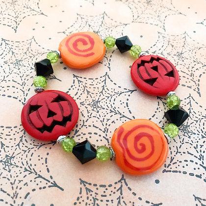 orange and red jack-o-lantern bracelet