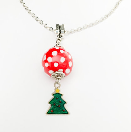 red and white with tree necklace