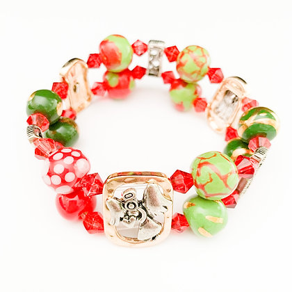 red and green double bracelet