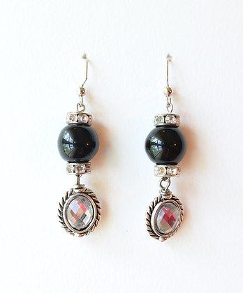black and rhinestones earrings