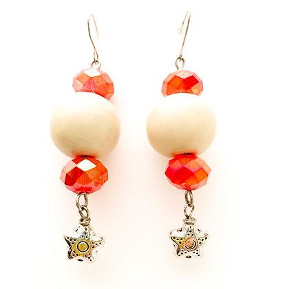 cream with stars earrings