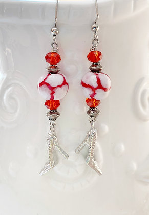 red with white giraffe print earrings