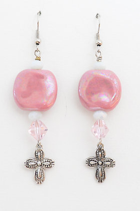 Pink and white cross earrings