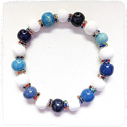 shades of blue and white stackable bracelet