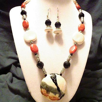 cream, rust & black splash necklace or earrings