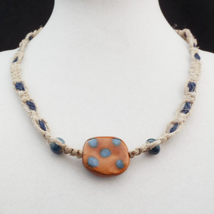 honey brown with blue macrame necklace