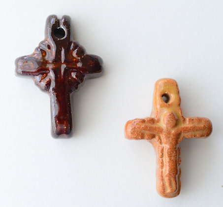 brown carved cross pendant - assorted
