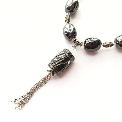 pewter necklace with tassel or earrings