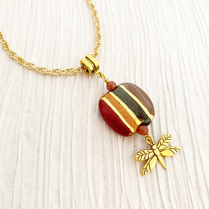 striped golden dragonfly necklace
