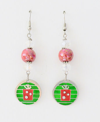 earrings - red with Christmas package charms