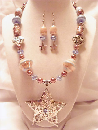 cream, blue & brown with star necklace or earrings