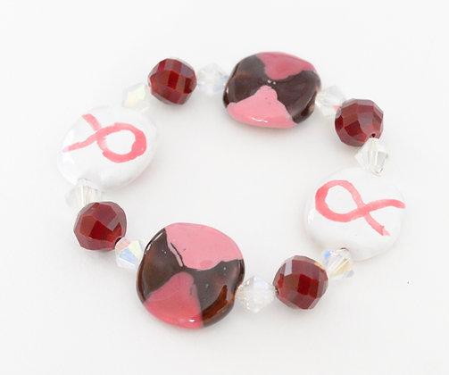 pink, white & henna ribbon bracelet