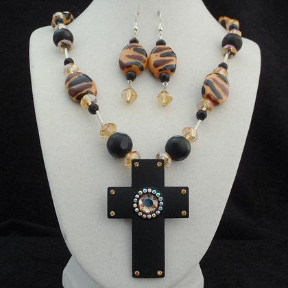 brown & black tiger pattern with cross necklace or earrings