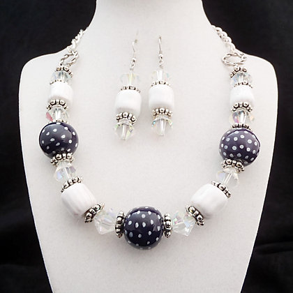 purple and white dots necklace or earrings