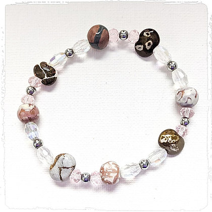 shades of brown and pink stackable bracelet
