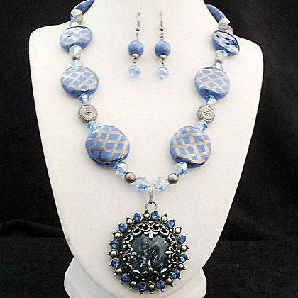 blue and pewter necklace or earrings