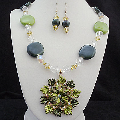 shades of green necklace or earrings