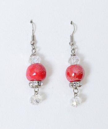 red with rhinestones earrings